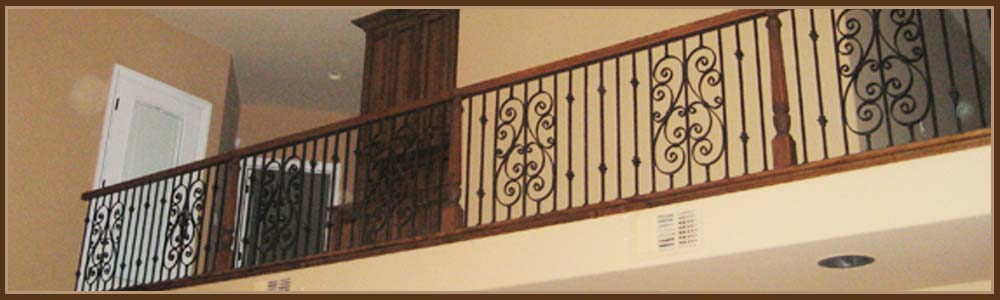 Interior iron railings sacramento staircase balcony railings for Inside balcony railing